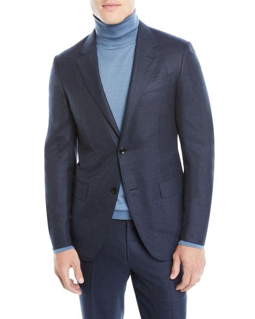 Ermenegildo Zegna Blue Men's Notched-collar Two-piece Pinstripe Wool Suit for men