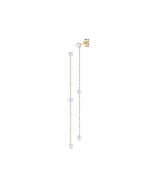 Mizuki - White Pearl Chain Drop Earrings - Lyst