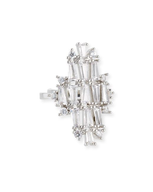 Fallon - Metallic Monarch Deco Vertical Crystal Ring - Lyst