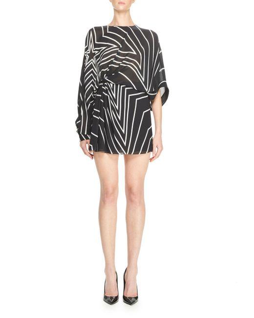 Saint Laurent | Black Gathered Star-print Mini Dress | Lyst