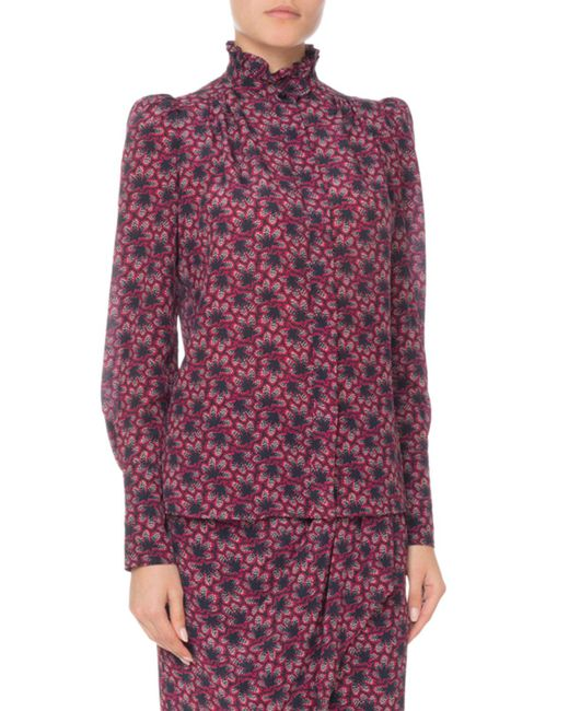 Isabel Marant - Blue Turtleneck Long-sleeve Floral-print Silk Blouse - Lyst