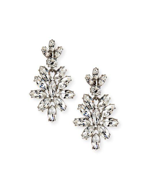 Oscar de la Renta - Metallic Navette Crystal Drop Clip Earrings - Lyst