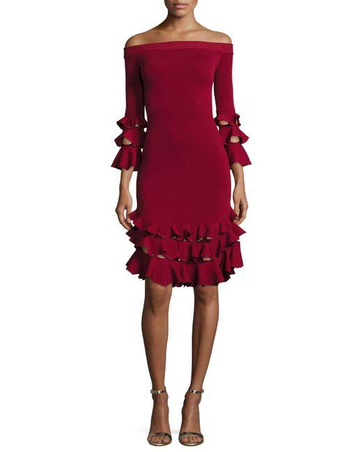 Jonathan Simkhai   Red Off-the-shoulder Slashed Knit Ruffled Midi Dress   Lyst