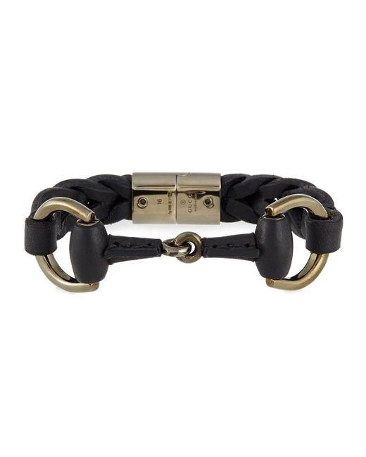 Gucci - Black Leather Bracelet With Horsebit Detail for Men - Lyst