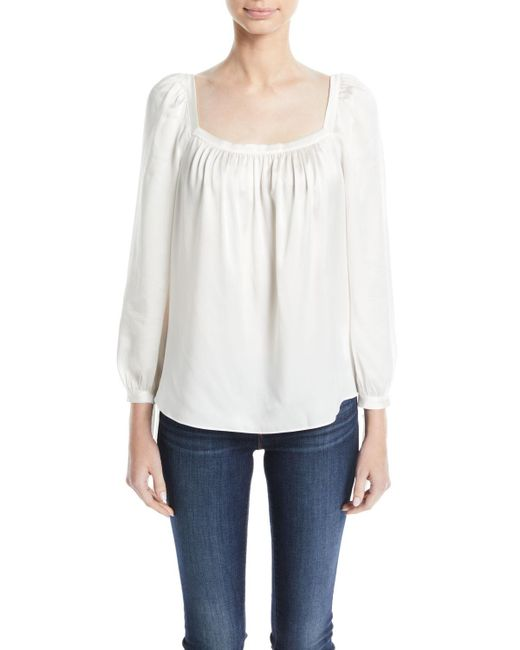 Rebecca Taylor - White Shirred Long-sleeve Charmeuse Top - Lyst
