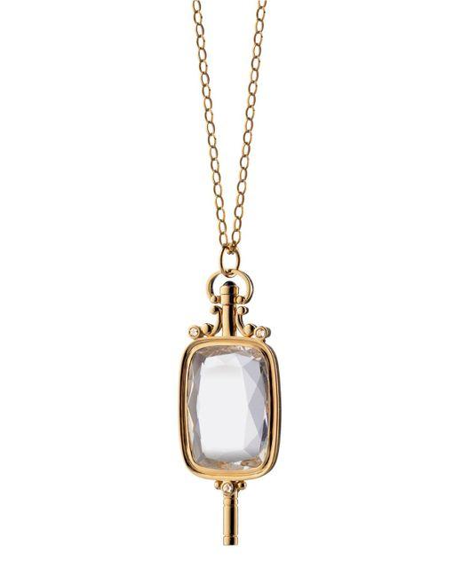 Monica Rich Kosann - Metallic Rock Crystal Rectangular Key Necklace - Lyst