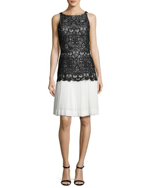 Oscar de la Renta | White Sleeveless Lace Chiffon Combo Dress | Lyst
