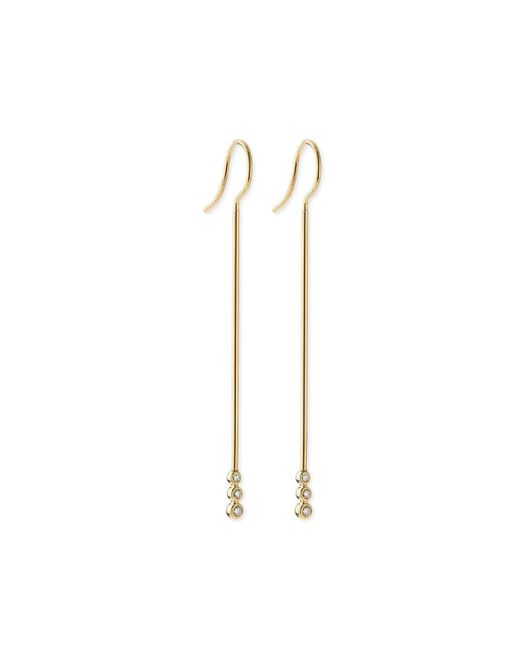 Mizuki - Metallic 14k Gold Three-diamond Bar Earrings - Lyst