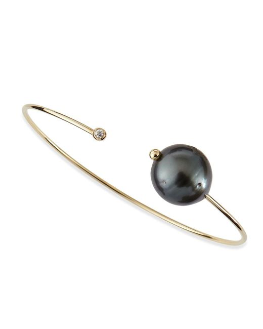 Mizuki - Metallic 14k Gold Cuff With Black Tahitian Pearl And Single Diamond Caps - Lyst