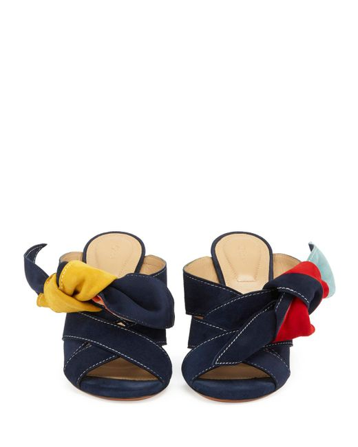 Chloé - Blue Nellie Knotted Suede Mule Sandals - Lyst