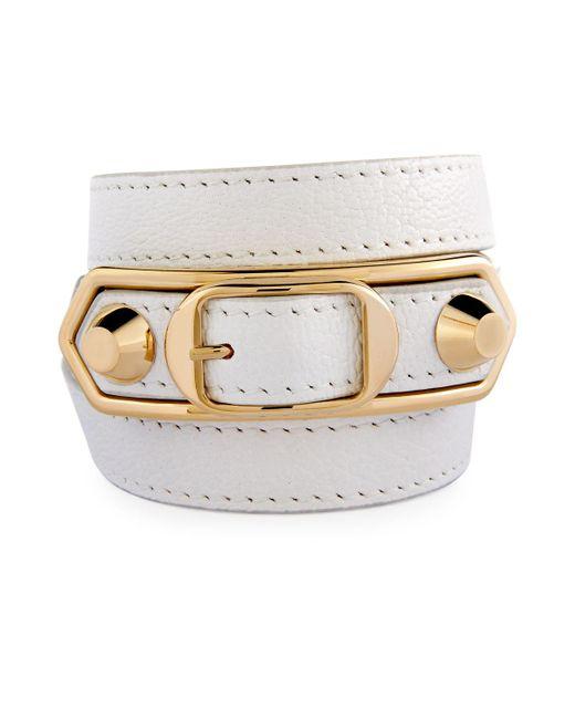 Balenciaga   White Metallic Edge Wrap Bracelet   Lyst