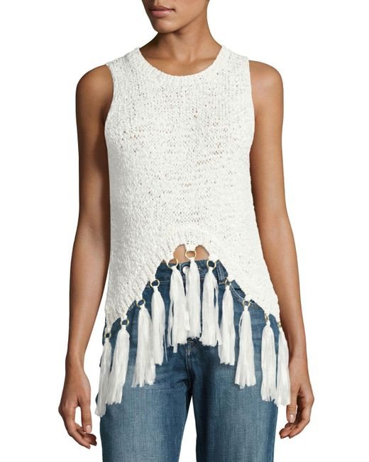 A.L.C. | White Carmelita Sleeveless Crochet Tassel Top | Lyst