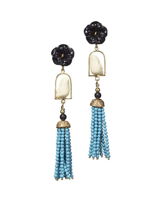 Of Rare Origin - Blue Swinger Beaded Tassel Drop Earrings - Lyst