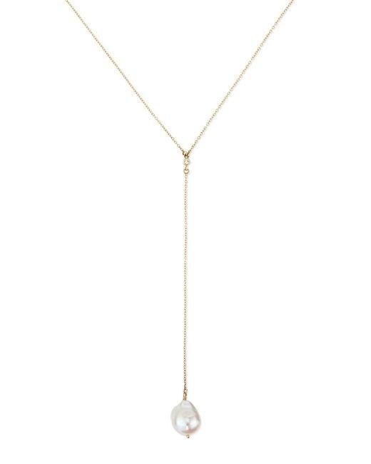 Mizuki   White 14k Gold Y Drop Necklace With Diamond & Pearl   Lyst