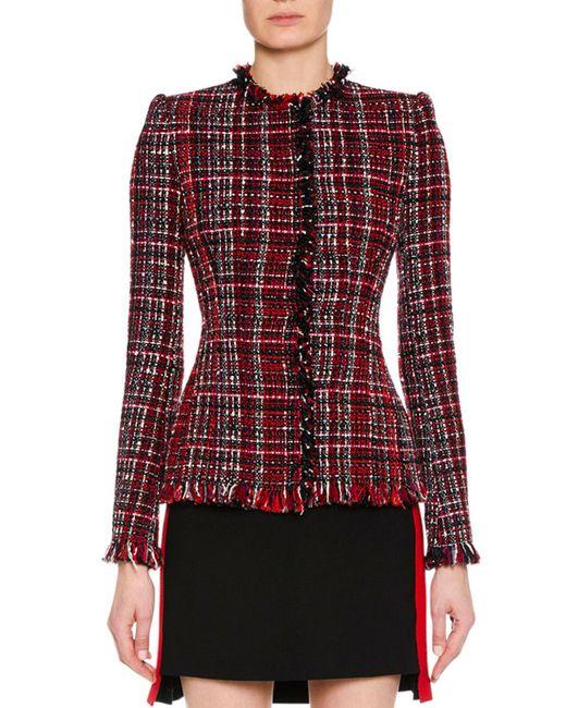 Alexander McQueen - Red Jewel-neck Artisan-tweed Fitted Classic Jacket - Lyst