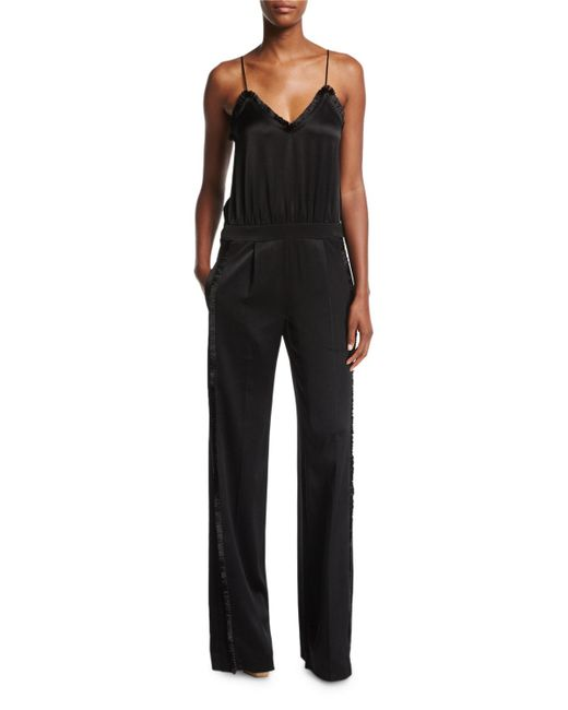 10 Crosby Derek Lam | Black Cami Sateen Wide-leg Jumpsuit W/ Fringed Trim | Lyst
