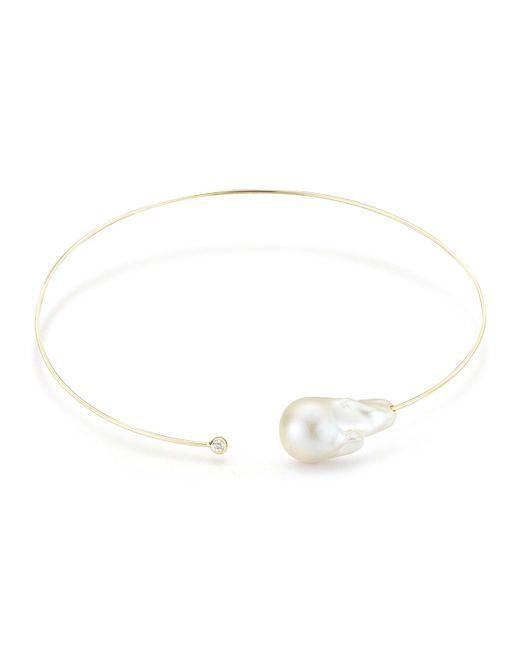 Mizuki | Metallic Baroque Pearl & Single Diamond Collar Necklace | Lyst