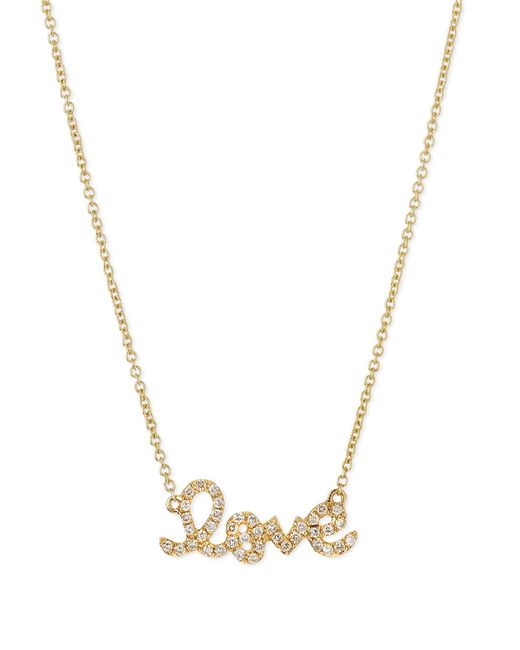 Sydney Evan - Metallic Gold Diamond Love Necklace - Lyst