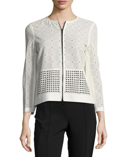 Lafayette 148 New York | White Emma Leather & Fabric Laser-cut Jacket | Lyst