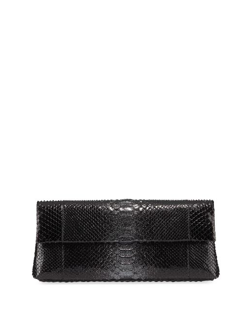 Nancy Gonzalez - Black Gotham Metallic Python Flap Clutch Bag - Lyst