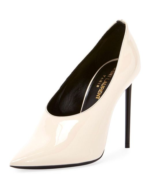 Saint Laurent - White Teddy High-vamp Patent Leather Pumps - Lyst