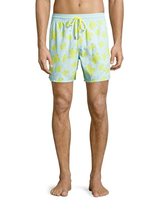 Vilebrequin - Blue Moorea Flocked Turtle Swim Trunks for Men - Lyst