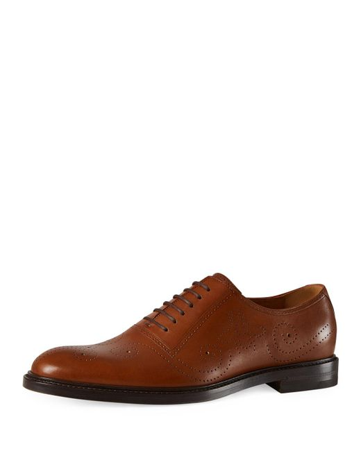 Gucci - Brown Leather Bee Brogue Lace-up Oxford for Men - Lyst