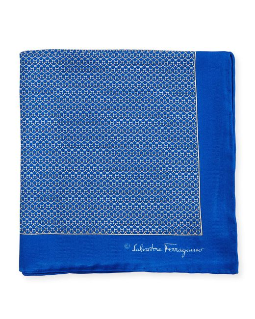 Ferragamo | Blue Party Gancini-print Pocket Square for Men | Lyst