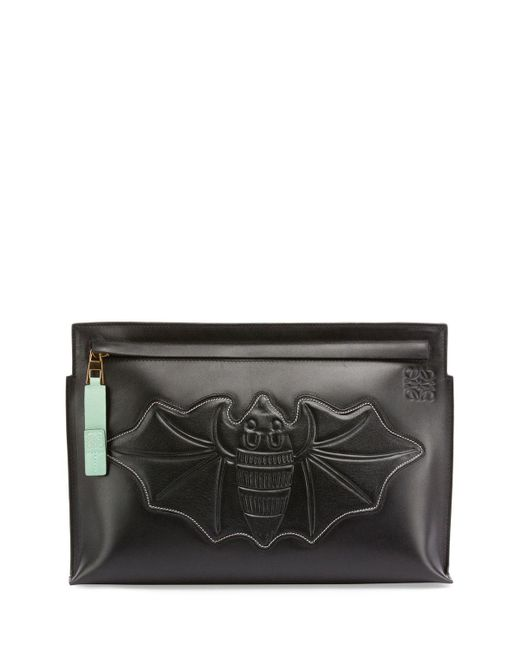 Loewe - Black Bat-embroidered Leather T Pouch - Lyst
