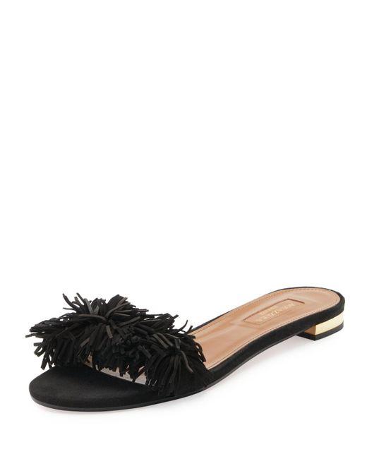 Aquazzura | Black Wild Thing Suede Flat Slide Sandal | Lyst