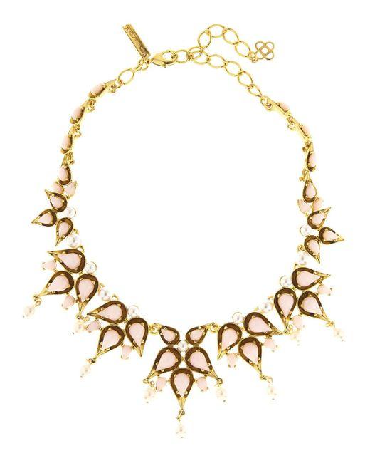 Oscar de la Renta   Metallic Pear Cabochon Collar Necklace   Lyst