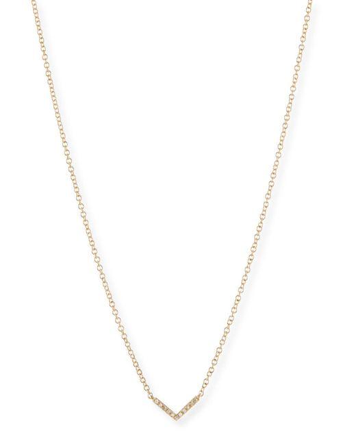 EF Collection - Metallic Mini Diamond Chevron Pendant Necklace - Lyst