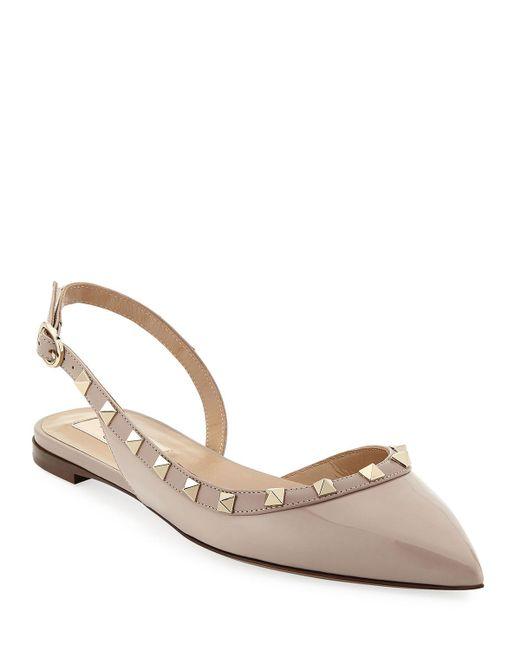 22d8a74eeb4 Valentino - Natural Vernice Rockstud Slingback Ballet Flats - Lyst ...