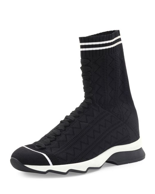 Fendi | Black Zigzag-knit Sock Sneaker | Lyst