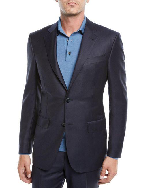 Ermenegildo Zegna Blue Men's Narrow Stripe Two-piece Wool Suit for men