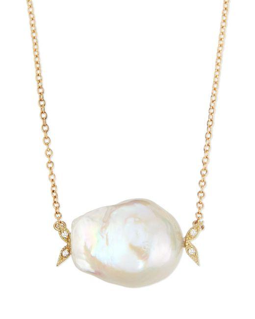 Mizuki | 14k Gold Diamond Leaf & White Pearl Necklace | Lyst