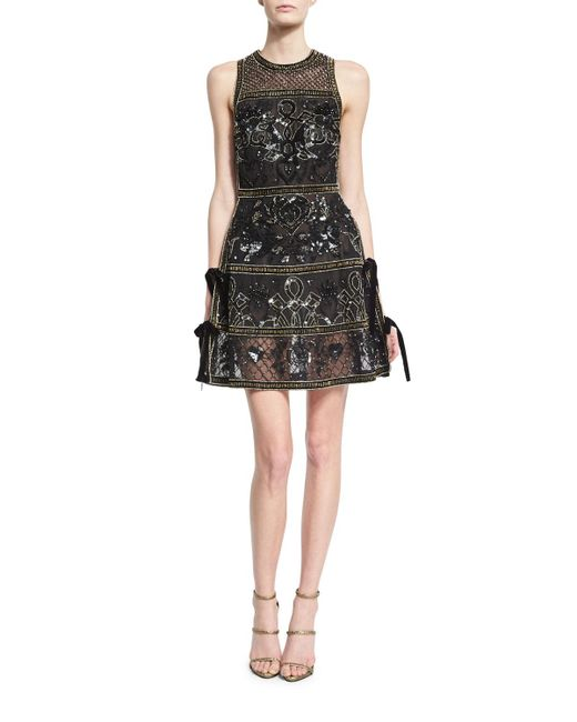 Elie Saab | Black Embellished Cocktail Dress With Velvet Ties | Lyst