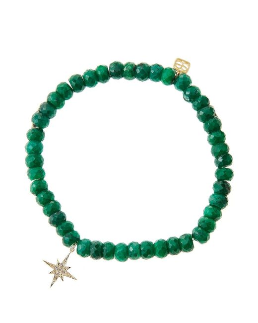 Sydney Evan | Green Emerald Rondelle Beaded Bracelet With 14K Gold/Diamond Small Starburst Charm (Made To Order) | Lyst
