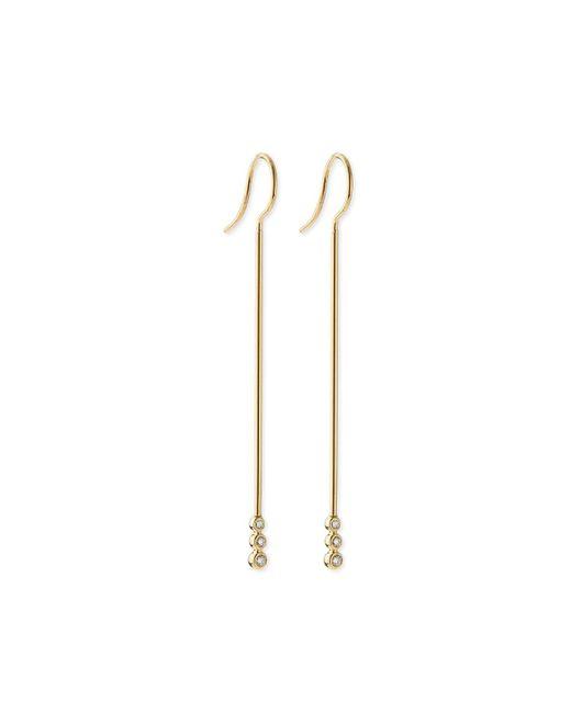 Mizuki | Metallic 14k Gold Three-diamond Bar Earrings | Lyst