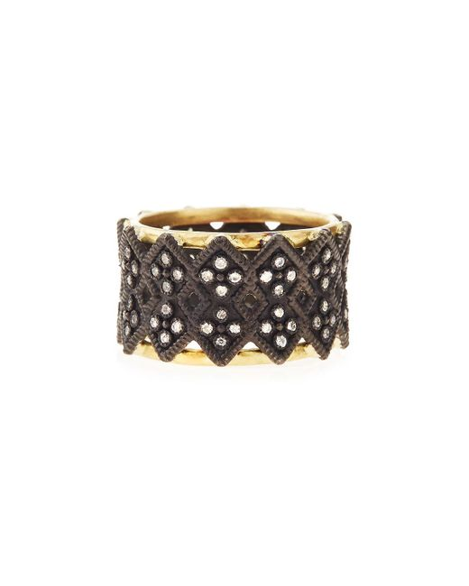 Armenta | Metallic Double Crivelli Wide Band Ring | Lyst