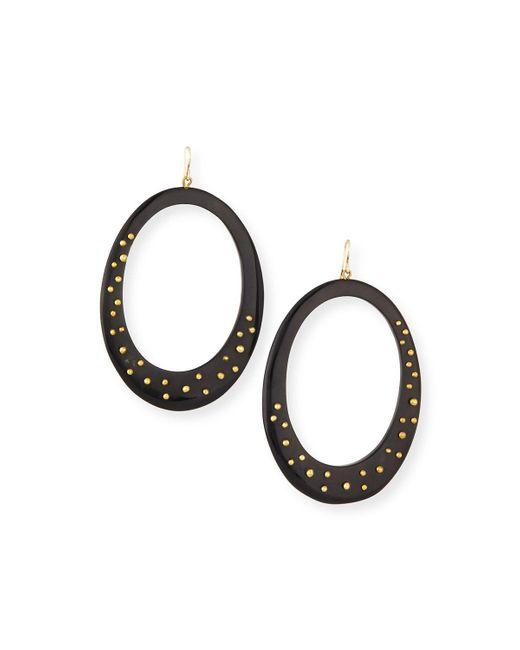 Ashley Pittman   Black Mzima Studded Oval Drop Earrings   Lyst