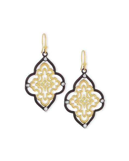 Armenta | Metallic Old World Scroll Earrings With Diamonds | Lyst