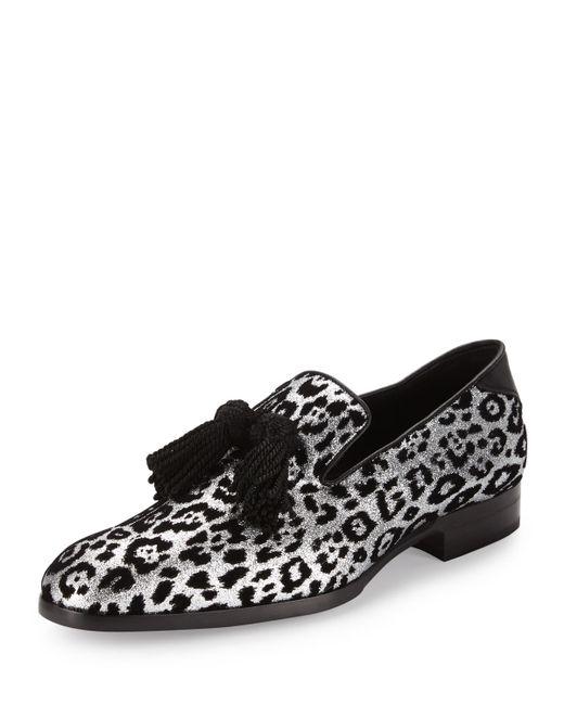 13 Foxley St: Jimmy Choo Foxley Men's Glitter Leopard-print Tassel