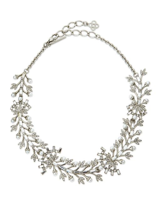 Oscar de la Renta | Metallic Crystal Baguette Leaf Necklace | Lyst