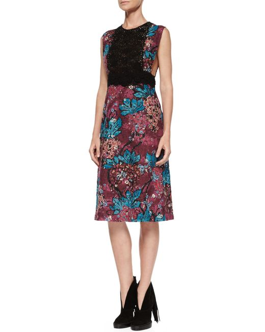 Burberry Prorsum | Multicolor Sleeveless Layered-lace Dress | Lyst