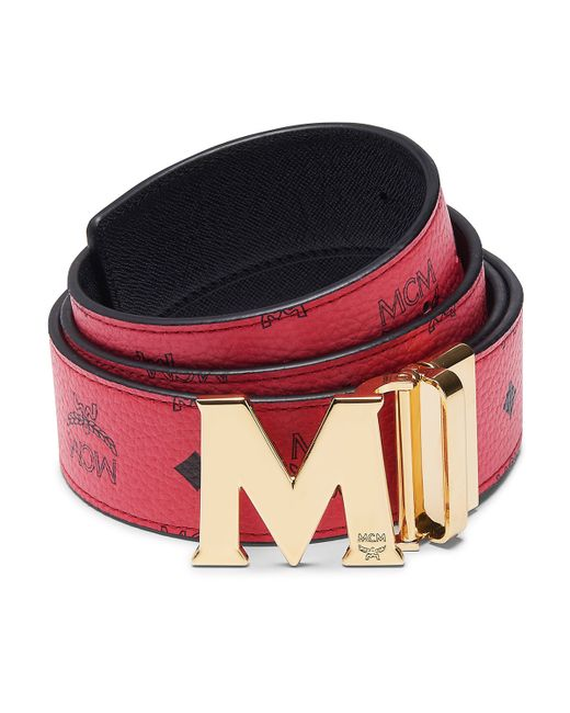 mcm claus reversible saffiano leather belt in black