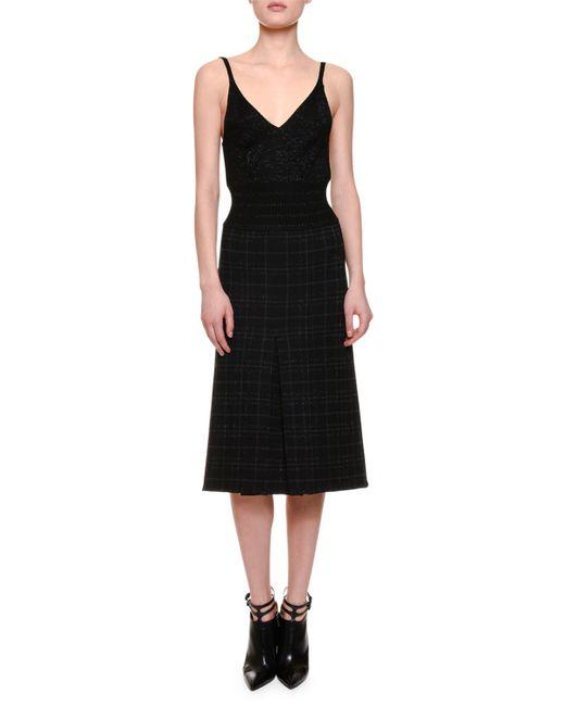 Bottega Veneta   Black Pleated Plaid Spaghetti-strap Dress   Lyst