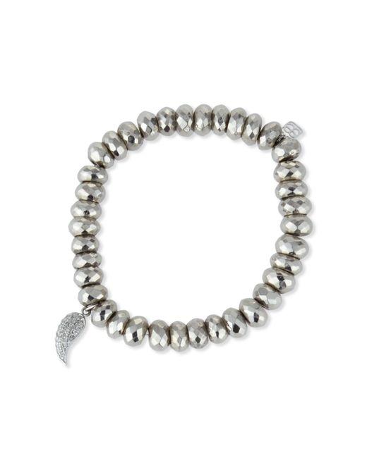 Sydney Evan | Metallic Champagne Pyrite Bead Bracelet W/14k Gold Diamond Hamsa Charm | Lyst