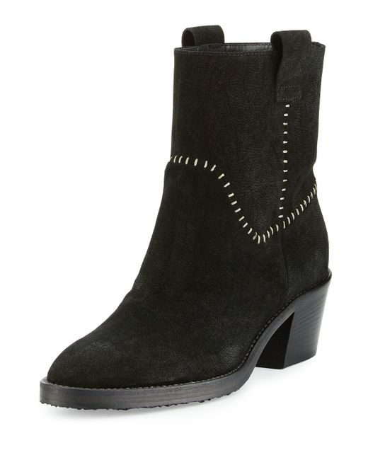 Aquatalia | Black Lorie Suede Western Ankle Boot | Lyst
