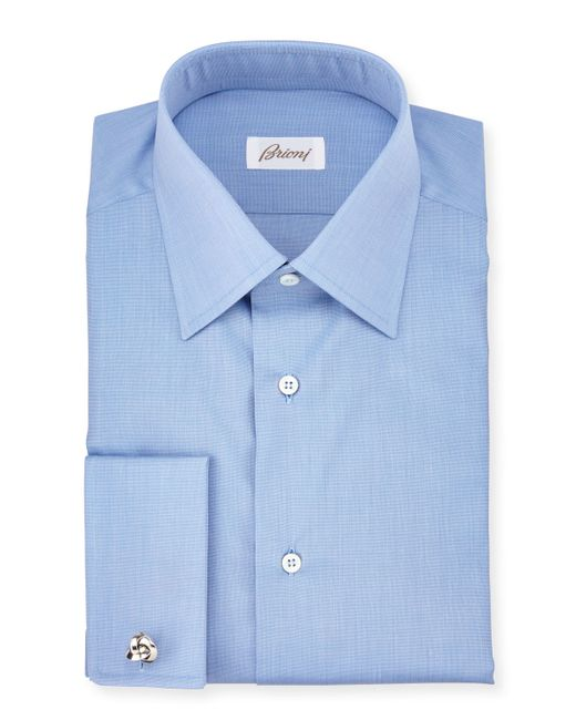 Brioni End On End French Cuff Dress Shirt In Blue For Men